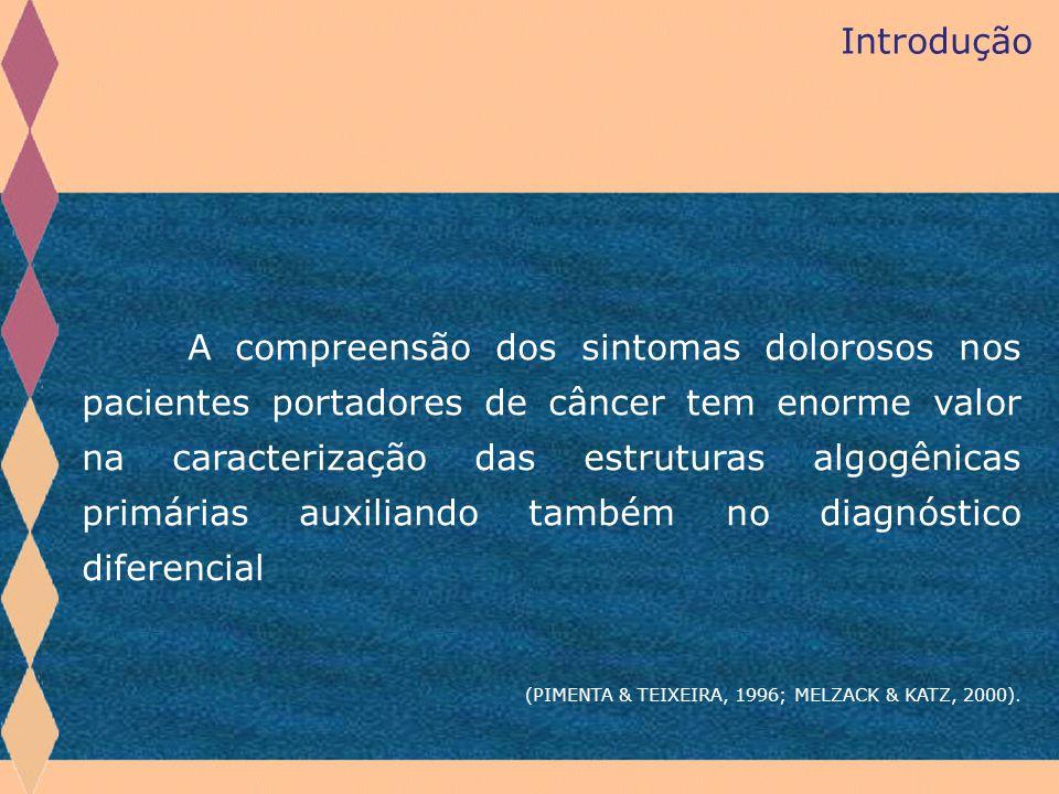 Introdução A compreensão dos sintomas dolorosos nos pacientes portadores de câncer tem enorme valor na caracterização das estruturas algogênicas primá