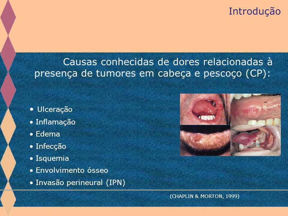 Introdução Causas conhecidas de dores relacionadas à presença de tumores em cabeça e pescoço (CP): Ulceração Inflamação Edema Infecção Isquemia Envolv