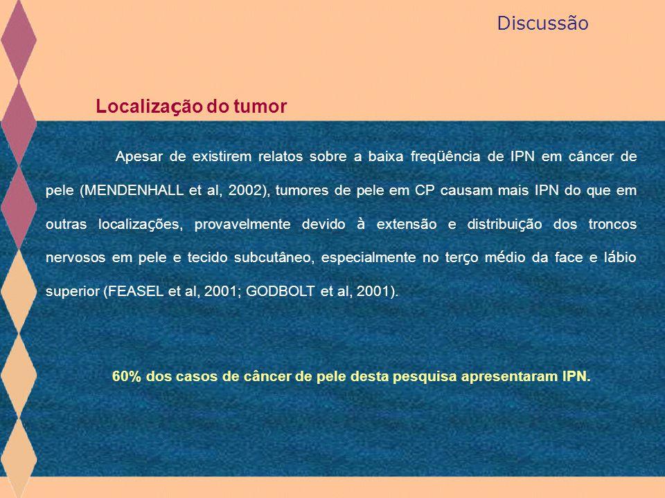 Discussão Localiza ç ão do tumor Apesar de existirem relatos sobre a baixa freq ü ência de IPN em câncer de pele (MENDENHALL et al, 2002), tumores de