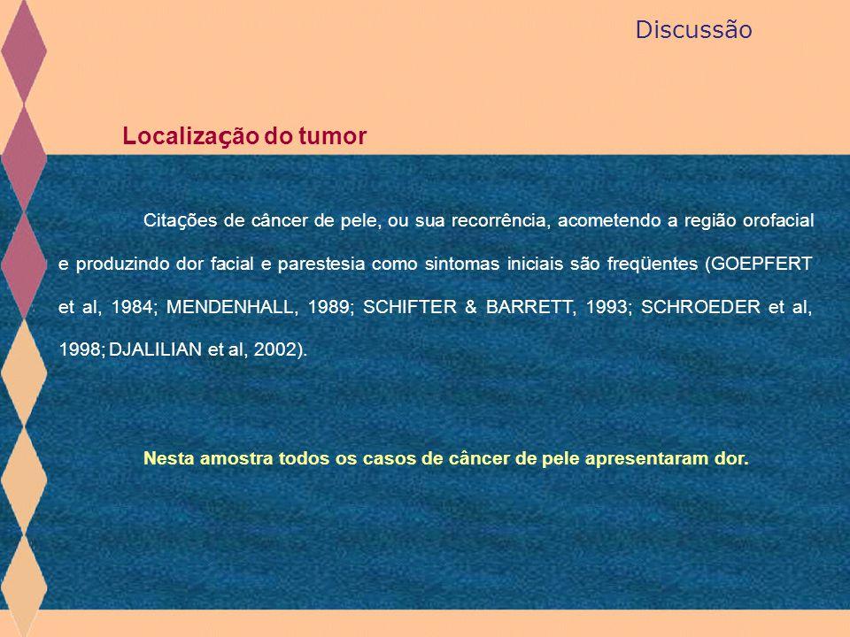 Discussão Localiza ç ão do tumor Cita ç ões de câncer de pele, ou sua recorrência, acometendo a região orofacial e produzindo dor facial e parestesia