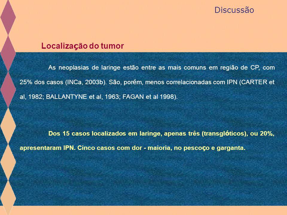 Discussão Localiza ç ão do tumor As neoplasias de laringe estão entre as mais comuns em região de CP, com 25% dos casos (INCa, 2003b). São, por é m, m
