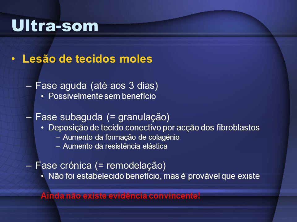 Ultra-som Lesão de tecidos moles –Fase aguda (até aos 3 dias) Possivelmente sem benefício –Fase subaguda (= granulação) Deposição de tecido conectivo