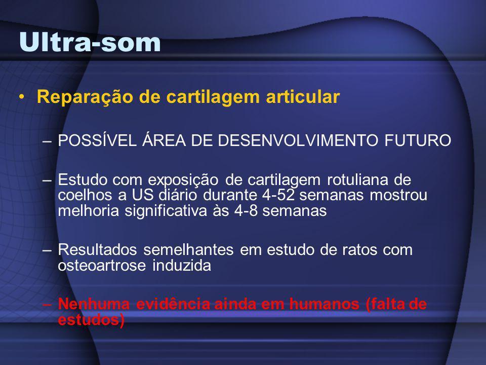 Ultra-som Reparação de cartilagem articular –POSSÍVEL ÁREA DE DESENVOLVIMENTO FUTURO –Estudo com exposição de cartilagem rotuliana de coelhos a US diá