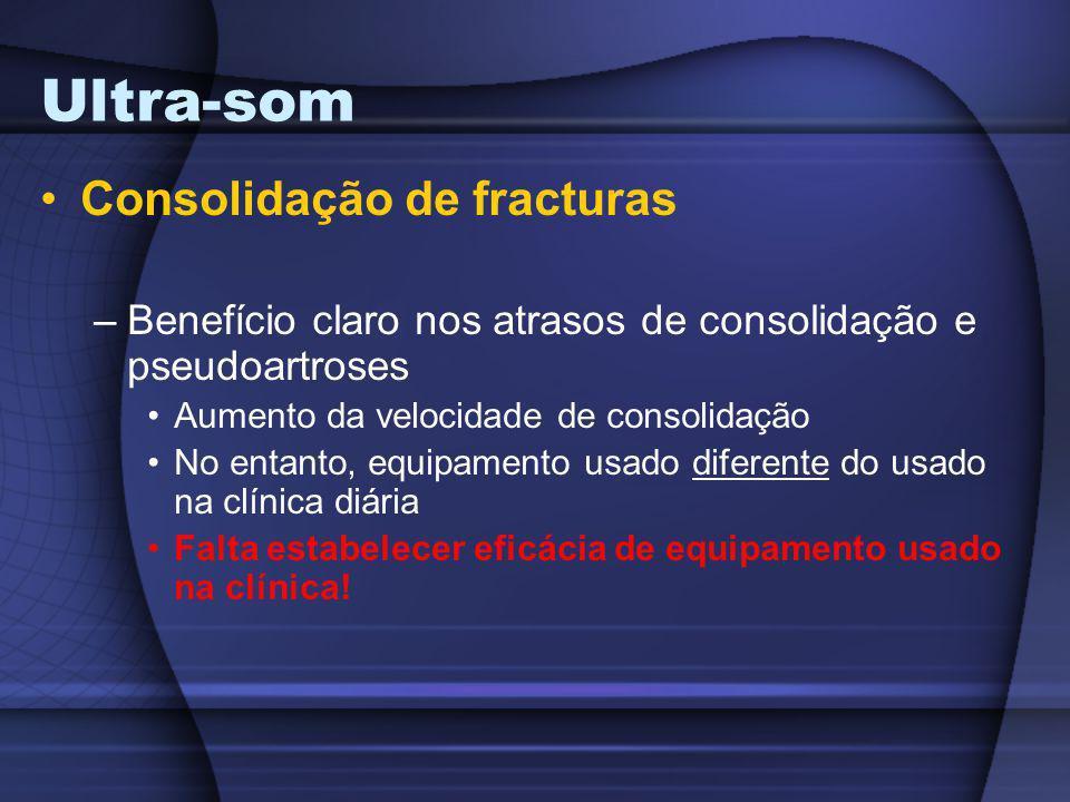 Ultra-som Consolidação de fracturas –Benefício claro nos atrasos de consolidação e pseudoartroses Aumento da velocidade de consolidação No entanto, eq