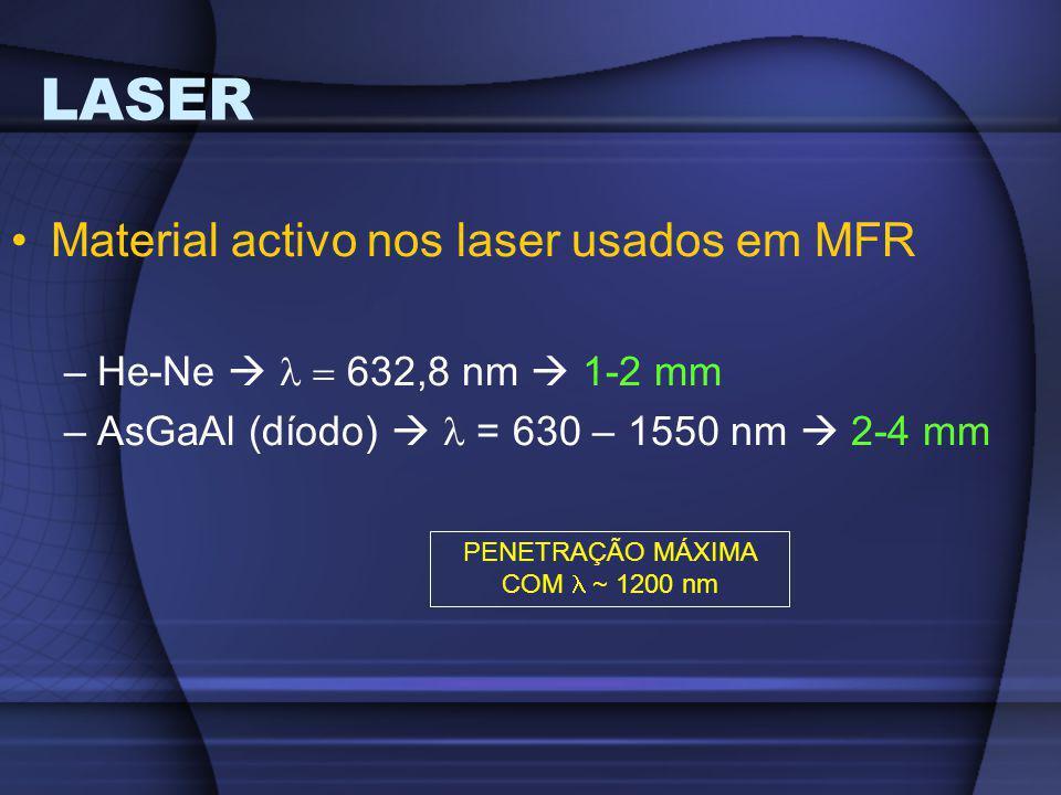 Material activo nos laser usados em MFR –He-Ne   632,8 nm  1-2 mm –AsGaAl (díodo)  = 630 – 1550 nm  2-4 mm PENETRAÇÃO MÁXIMA COM ~ 1200 nm
