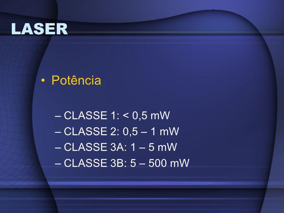 LASER Potência –CLASSE 1: < 0,5 mW –CLASSE 2: 0,5 – 1 mW –CLASSE 3A: 1 – 5 mW –CLASSE 3B: 5 – 500 mW