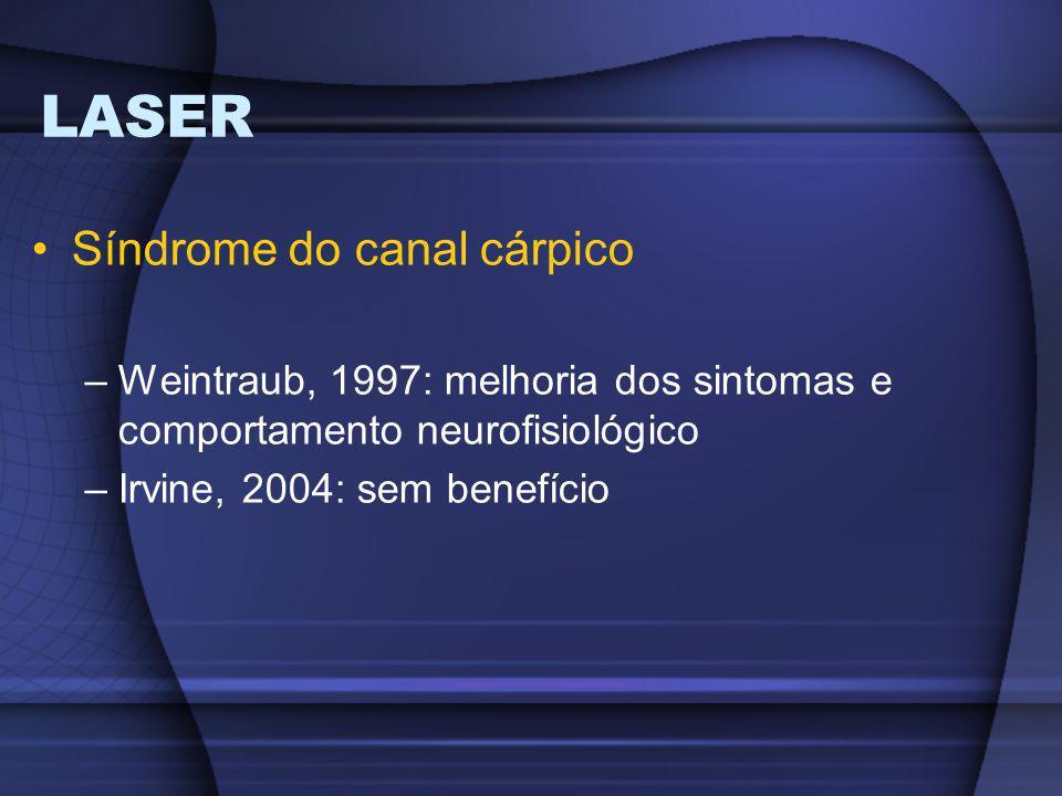 LASER Síndrome do canal cárpico –Weintraub, 1997: melhoria dos sintomas e comportamento neurofisiológico –Irvine, 2004: sem benefício