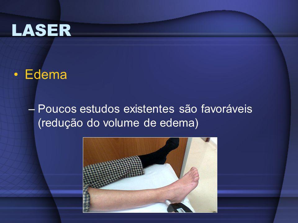 LASER Edema –Poucos estudos existentes são favoráveis (redução do volume de edema)