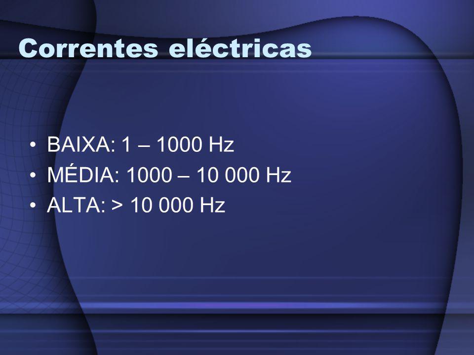 Correntes eléctricas BAIXA: 1 – 1000 Hz MÉDIA: 1000 – 10 000 Hz ALTA: > 10 000 Hz