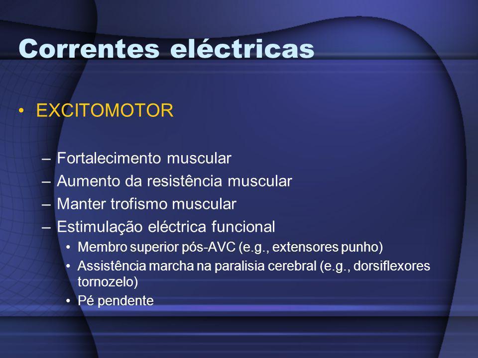 Correntes eléctricas EXCITOMOTOR –Fortalecimento muscular –Aumento da resistência muscular –Manter trofismo muscular –Estimulação eléctrica funcional