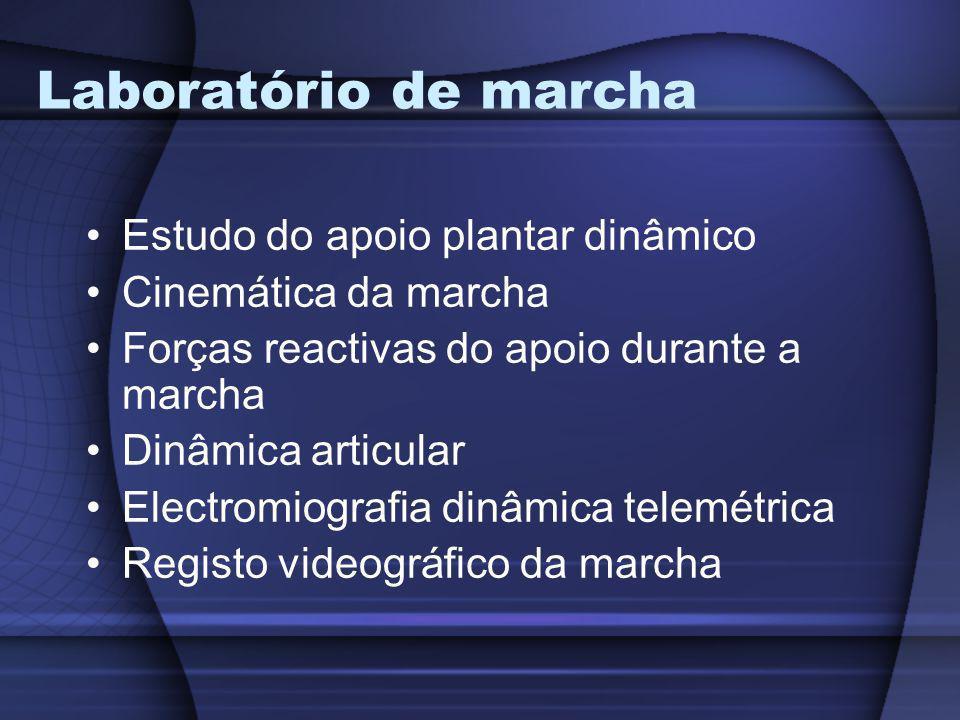 Laboratório de marcha Estudo do apoio plantar dinâmico Cinemática da marcha Forças reactivas do apoio durante a marcha Dinâmica articular Electromiogr