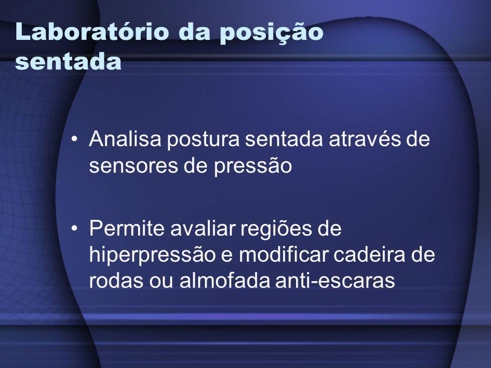 Laboratório da posição sentada Analisa postura sentada através de sensores de pressão Permite avaliar regiões de hiperpressão e modificar cadeira de r