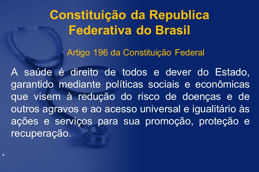 Constituição da Republica Federativa do Brasil A saúde é direito de todos e dever do Estado, garantido mediante políticas sociais e econômicas que vis