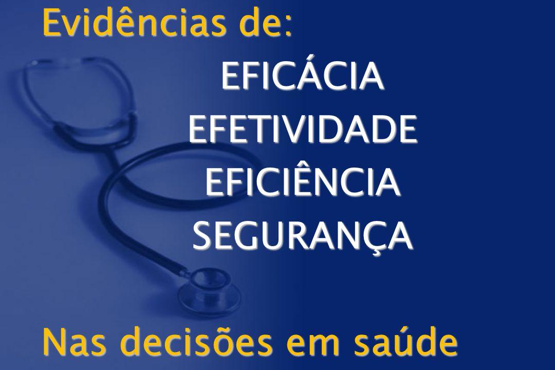 Evidências de: EFICÁCIAEFETIVIDADEEFICIÊNCIASEGURANÇA Nas decisões em saúde