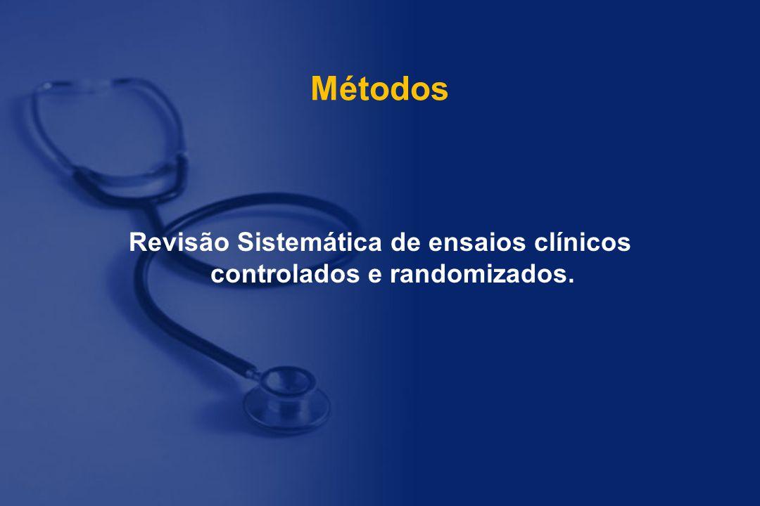 Métodos Revisão Sistemática de ensaios clínicos controlados e randomizados.