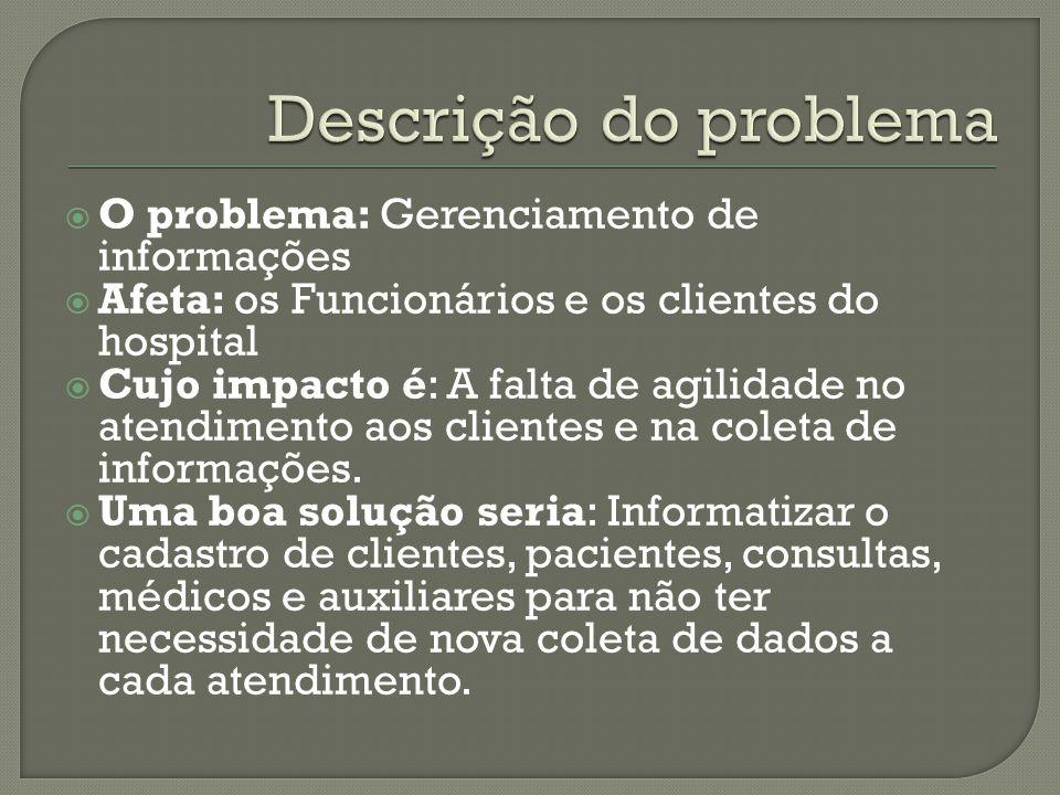  O problema: Gerenciamento de informações  Afeta: os Funcionários e os clientes do hospital  Cujo impacto é: A falta de agilidade no atendimento aos clientes e na coleta de informações.