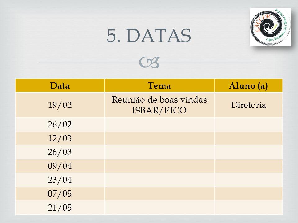  5. DATAS DataTemaAluno (a) 19/02 Reunião de boas vindas ISBAR/PICO Diretoria 26/02 12/03 26/03 09/04 23/04 07/05 21/05