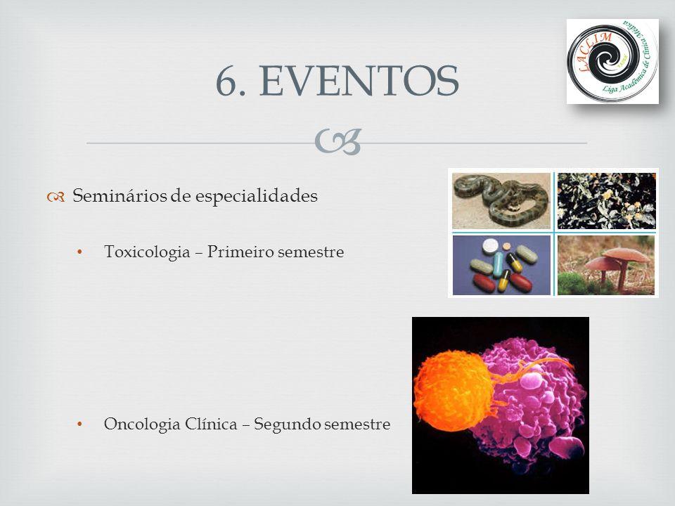   Seminários de especialidades Toxicologia – Primeiro semestre Oncologia Clínica – Segundo semestre 6. EVENTOS