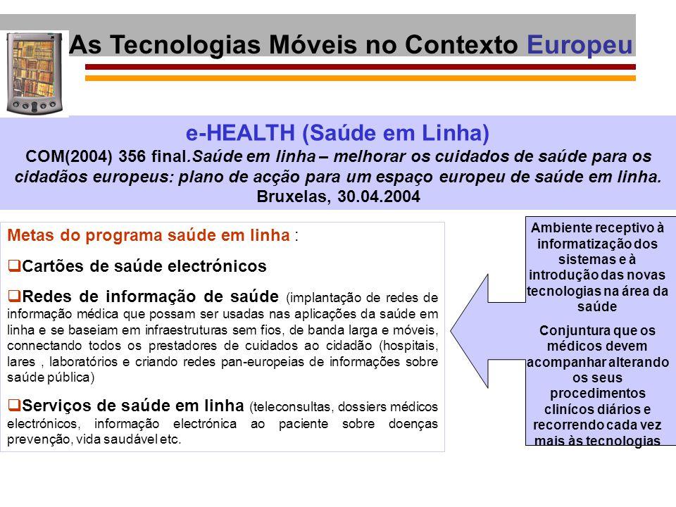 e-HEALTH (Saúde em Linha) COM(2004) 356 final.Saúde em linha – melhorar os cuidados de saúde para os cidadãos europeus: plano de acção para um espaço
