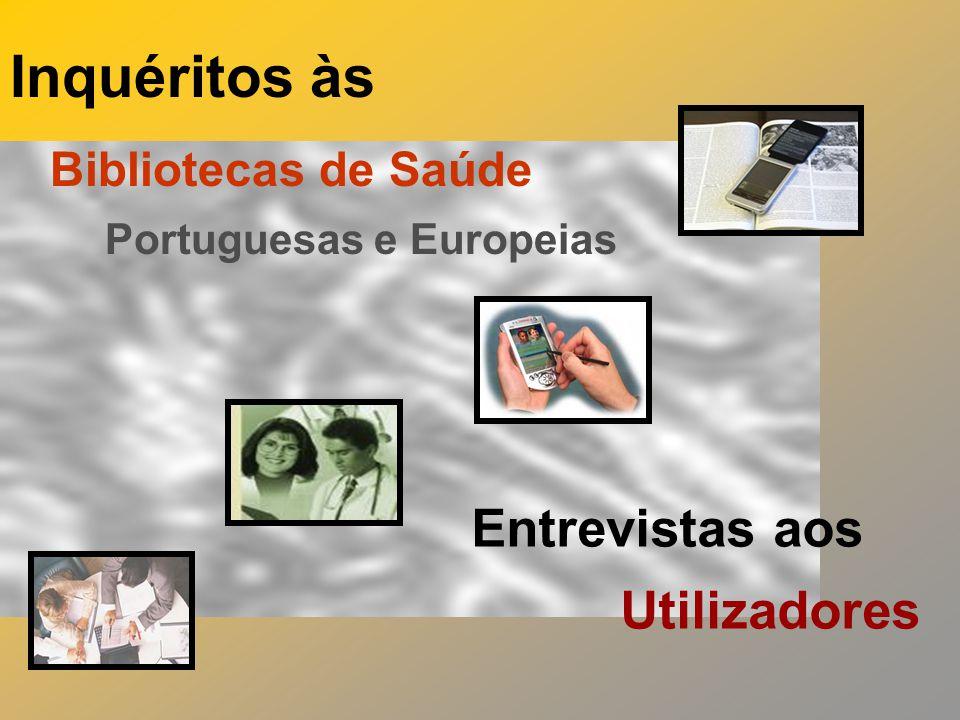 Inquéritos às Bibliotecas de Saúde Portuguesas e Europeias Entrevistas aos Utilizadores