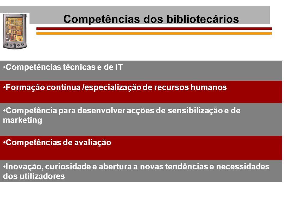 Competências dos bibliotecários Competências técnicas e de IT Formação contínua /especialização de recursos humanos Competência para desenvolver acçõe