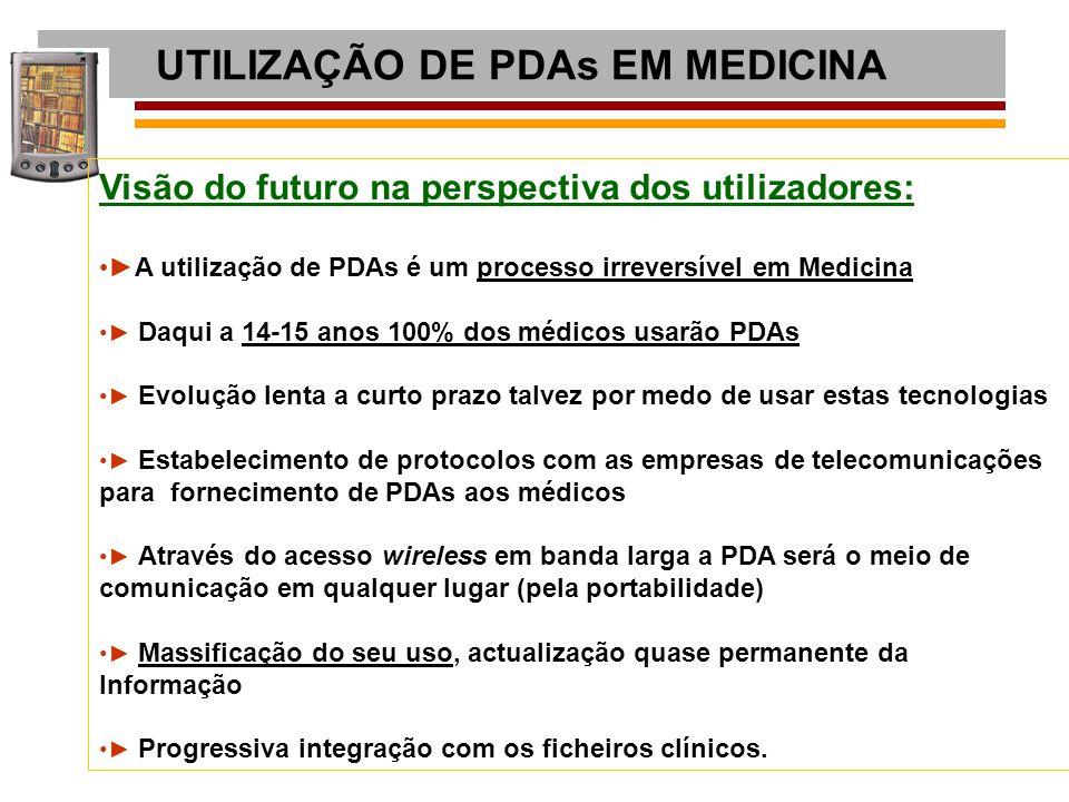 UTILIZAÇÃO DE PDAs EM MEDICINA Visão do futuro na perspectiva dos utilizadores: ► A utilização de PDAs é um processo irreversível em Medicina ► Daqui