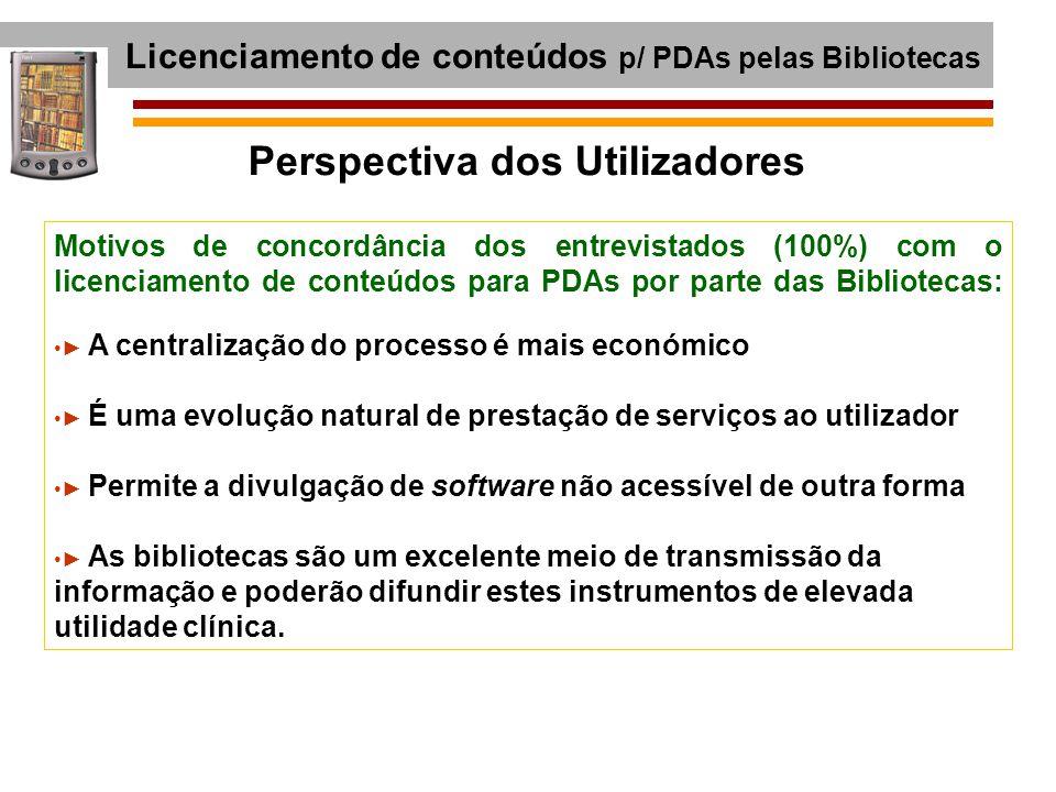 Licenciamento de conteúdos p/ PDAs pelas Bibliotecas Motivos de concordância dos entrevistados (100%) com o licenciamento de conteúdos para PDAs por p