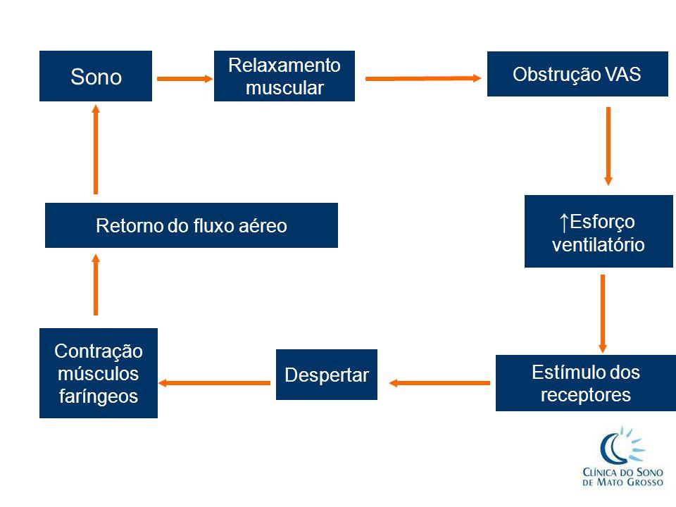 ↑ Esforço ventilatório Estímulo dos receptores Despertar Contração músculos faríngeos Retorno do fluxo aéreo Sono Relaxamento muscular Obstrução VAS