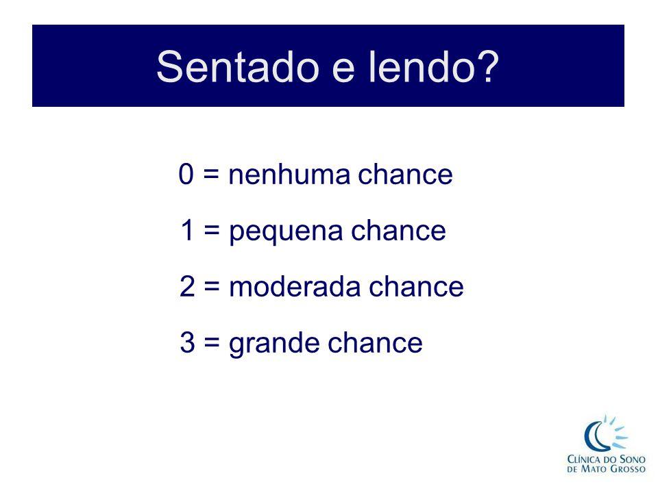Sentado e lendo? 0 = nenhuma chance 1 = pequena chance 2 = moderada chance 3 = grande chance