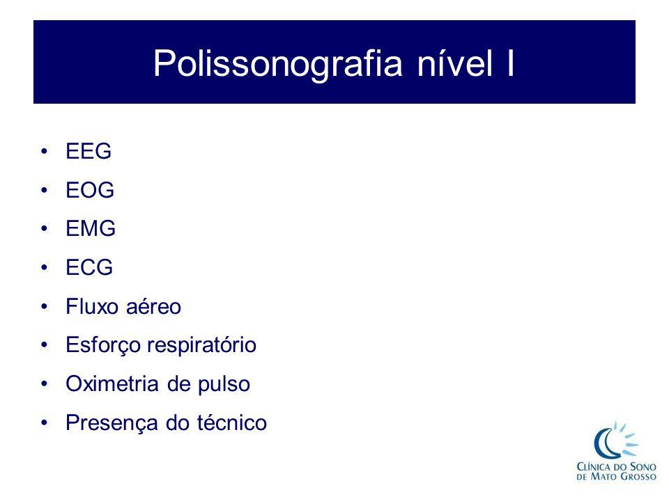 Polissonografia nível I EEG EOG EMG ECG Fluxo aéreo Esforço respiratório Oximetria de pulso Presença do técnico