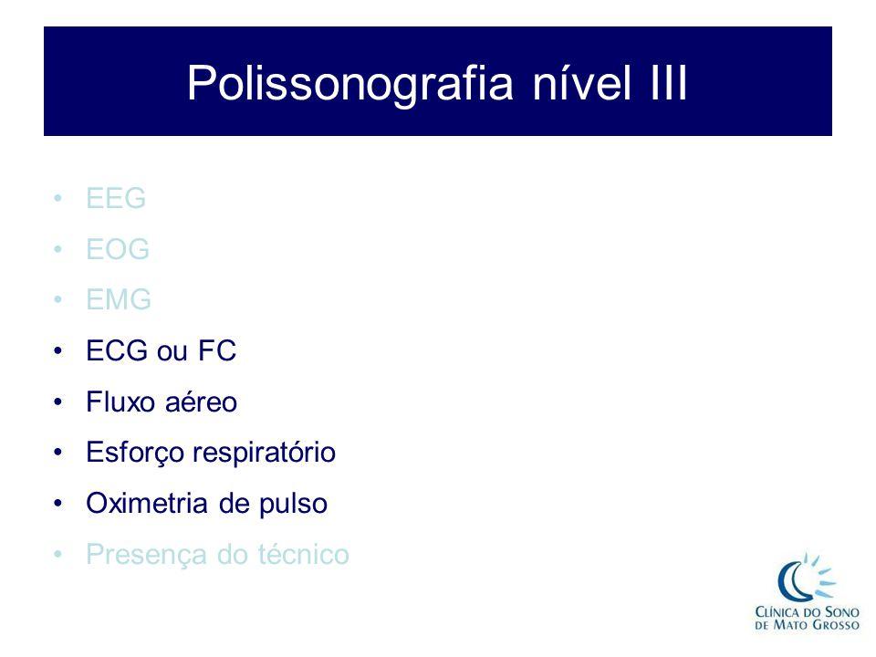 Polissonografia nível III EEG EOG EMG ECG ou FC Fluxo aéreo Esforço respiratório Oximetria de pulso Presença do técnico