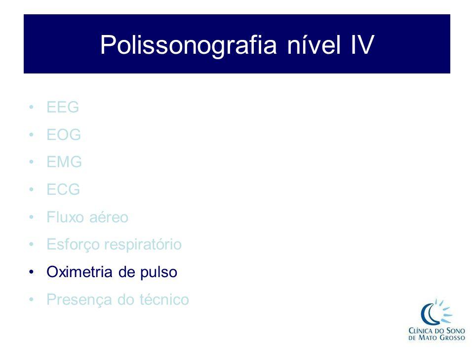 Polissonografia nível IV EEG EOG EMG ECG Fluxo aéreo Esforço respiratório Oximetria de pulso Presença do técnico