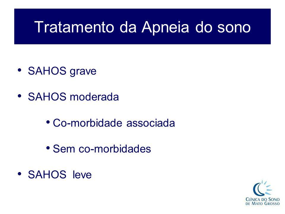 Tratamento da Apneia do sono SAHOS grave SAHOS moderada Co-morbidade associada Sem co-morbidades SAHOS leve