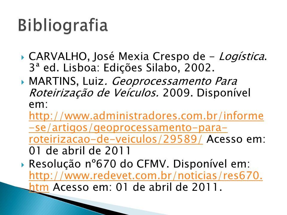  CARVALHO, José Mexia Crespo de - Logística. 3ª ed. Lisboa: Edições Silabo, 2002.  MARTINS, Luiz. Geoprocessamento Para Roteirização de Veículos. 20