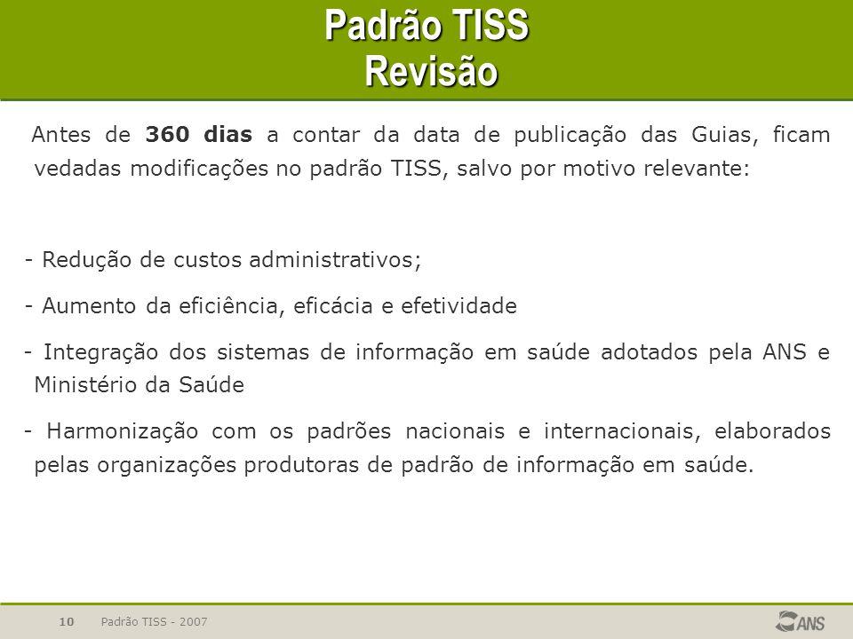 Padrão TISS - 200710 Padrão TISS Revisão Antes de 360 dias a contar da data de publicação das Guias, ficam vedadas modificações no padrão TISS, salvo