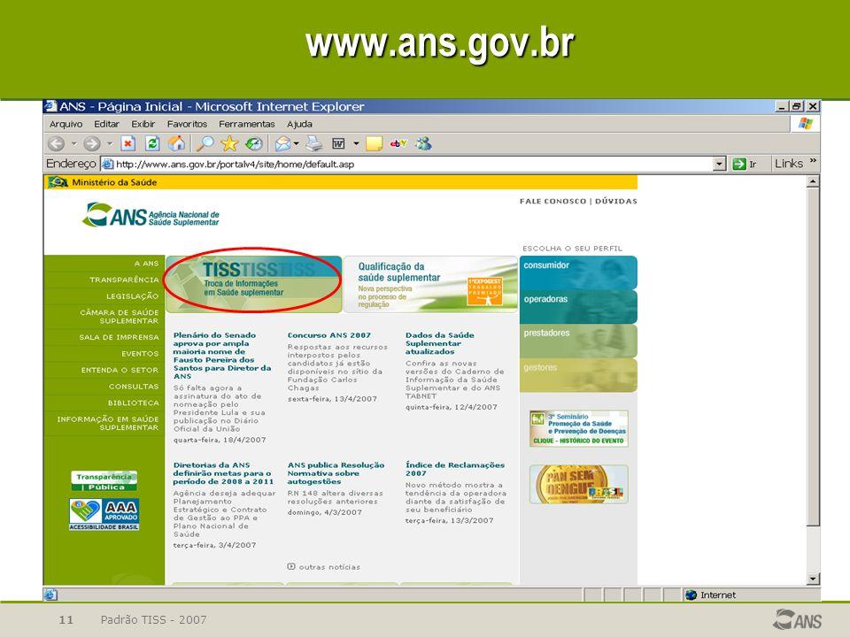 Padrão TISS - 200711www.ans.gov.br