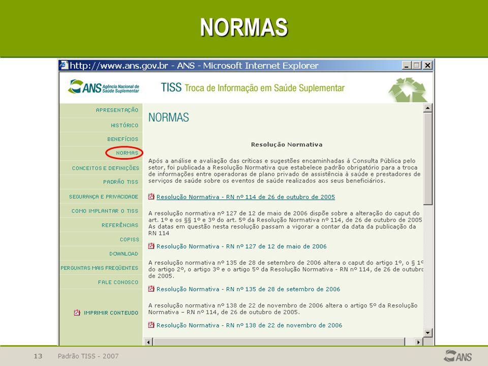Padrão TISS - 200713 NORMAS