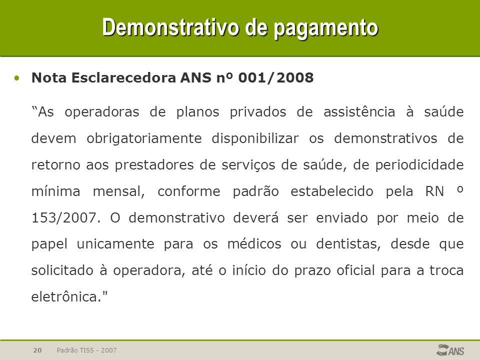 """Padrão TISS - 200720 Demonstrativo de pagamento Nota Esclarecedora ANS nº 001/2008 """"As operadoras de planos privados de assistência à saúde devem obri"""