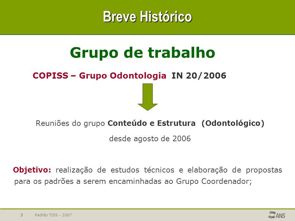 Padrão TISS - 20073 Breve Histórico Grupo de trabalho COPISS – Grupo Odontologia IN 20/2006 Reuniões do grupo Conteúdo e Estrutura (Odontológico) desd
