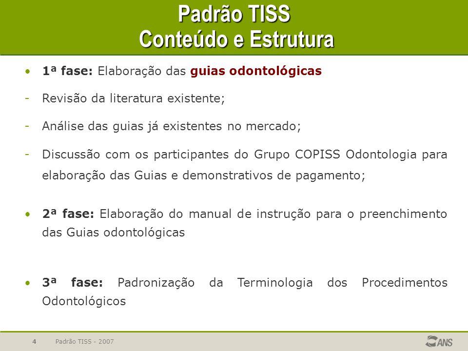 Padrão TISS - 20074 Padrão TISS Conteúdo e Estrutura 1ª fase: Elaboração das guias odontológicas -Revisão da literatura existente; -Análise das guias