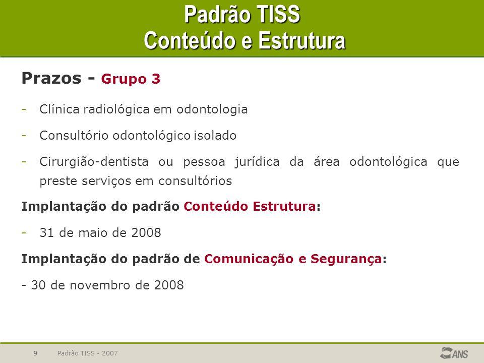 Padrão TISS - 20079 Padrão TISS Conteúdo e Estrutura Prazos - Grupo 3 -Clínica radiológica em odontologia -Consultório odontológico isolado -Cirurgião