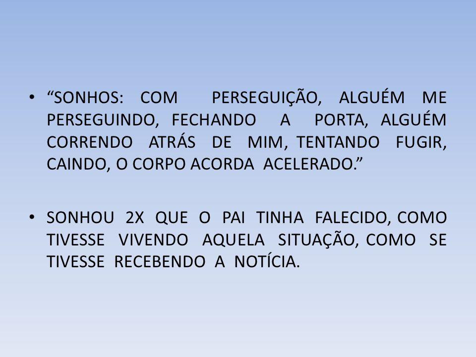 REPERTORIZAÇÃO 1-ILUSÃO_pessoas_atrás (someone is behind him- 27r 2-MEDO_atrás de si, alguém está (that someone- 8r 3-ILUSÃO_auditivas_passos, ouve (hears footst- 5r 4-SUICÍDIO_disposição (suicidal disposition) - 117r 5-MORTE_medo (fear of death) - 196r 6-INCONSCIÊNCIA coma (unconsciousness= coma,- 343r ------------------------------- Sintomas 1 2 3 4 5 6 St/Pts ------------------------------- med 2 3 1 1 1 1 06/009 crot-c 1 1 1 1 2 2 06/008 lach 1 2 - 2 3 3 05/011 anac 1 3 - 2 1 2 05/009 staph 1 1 - 1 1 1 05/005 calc 1 - - 2 4 3 04/010 merc - 1 - 2 4 3 04/010