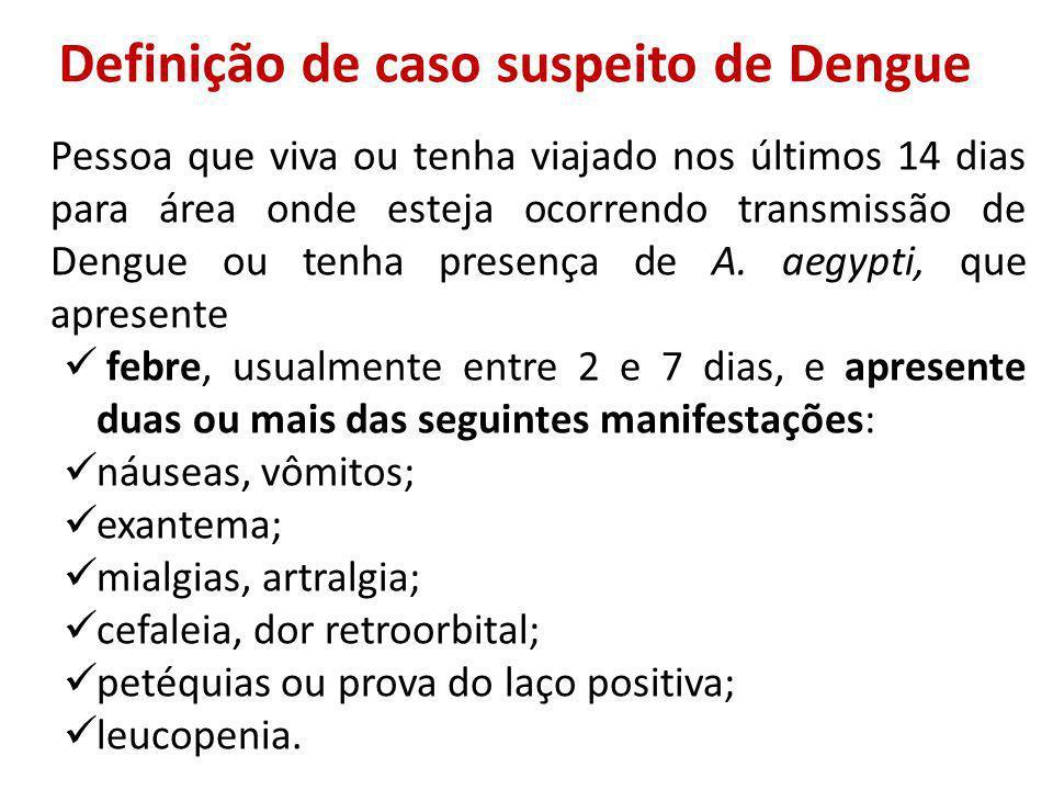 Definição de caso suspeito de Dengue Pessoa que viva ou tenha viajado nos últimos 14 dias para área onde esteja ocorrendo transmissão de Dengue ou tenha presença de A.