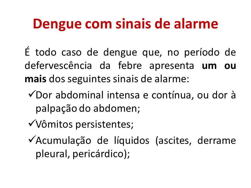 Dengue com sinais de alarme É todo caso de dengue que, no período de defervescência da febre apresenta um ou mais dos seguintes sinais de alarme: Dor abdominal intensa e contínua, ou dor à palpação do abdomen; Vômitos persistentes; Acumulação de líquidos (ascites, derrame pleural, pericárdico);