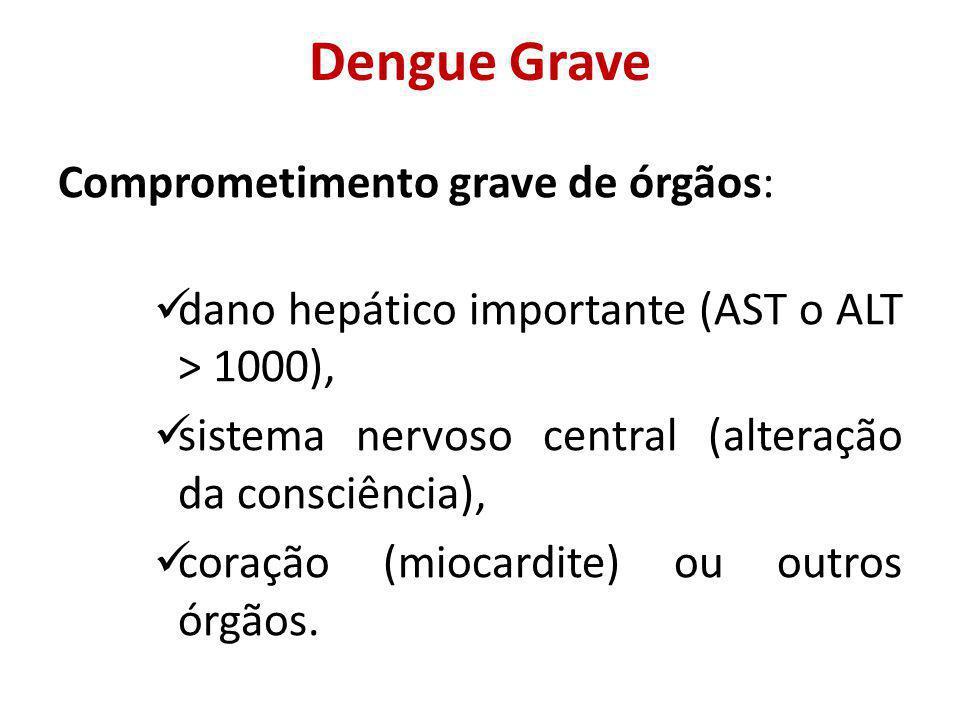 Dengue Grave Comprometimento grave de órgãos: dano hepático importante (AST o ALT > 1000), sistema nervoso central (alteração da consciência), coração (miocardite) ou outros órgãos.