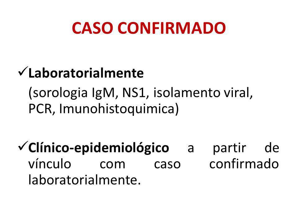 CASO CONFIRMADO Laboratorialmente (sorologia IgM, NS1, isolamento viral, PCR, Imunohistoquimica) Clínico-epidemiológico a partir de vínculo com caso confirmado laboratorialmente.