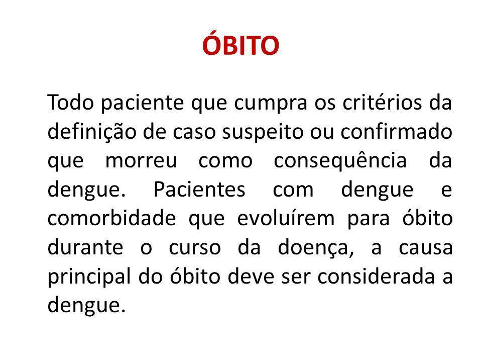 ÓBITO Todo paciente que cumpra os critérios da definição de caso suspeito ou confirmado que morreu como consequência da dengue.
