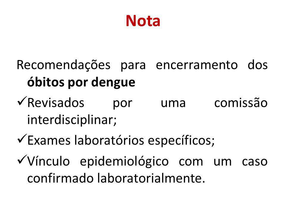 Nota Recomendações para encerramento dos óbitos por dengue Revisados por uma comissão interdisciplinar; Exames laboratórios específicos; Vínculo epidemiológico com um caso confirmado laboratorialmente.