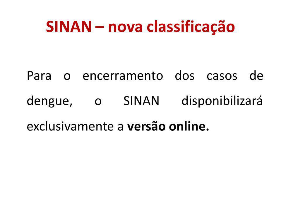 SINAN – nova classificação Para o encerramento dos casos de dengue, o SINAN disponibilizará exclusivamente a versão online.