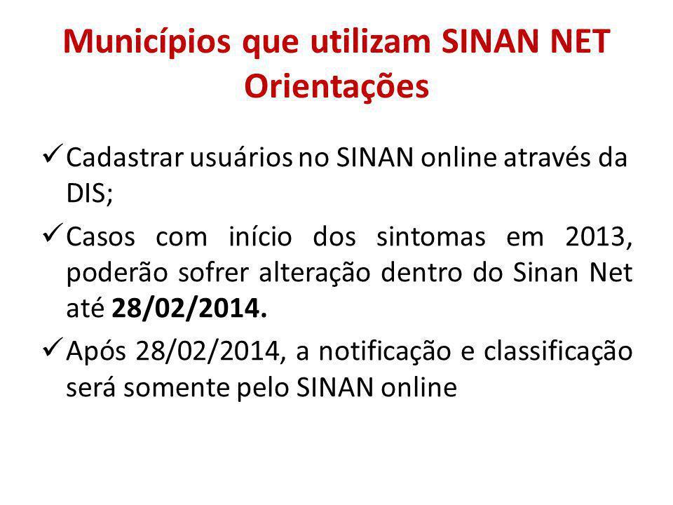 Municípios que utilizam SINAN NET Orientações Cadastrar usuários no SINAN online através da DIS; Casos com início dos sintomas em 2013, poderão sofrer alteração dentro do Sinan Net até 28/02/2014.
